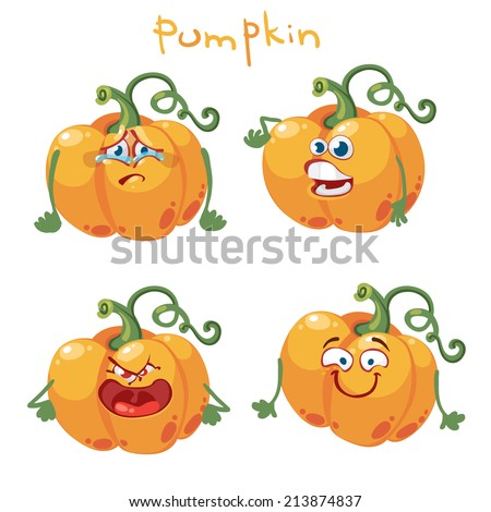 Cartoon character with many expressions pumpkin - stock vector