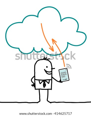 cartoon characters and cloud - connection - stock vector