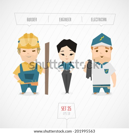 Cartoon characters builder engineer electrician vector illustration - stock vector