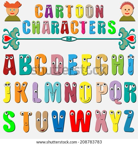 Cartoon characters, funny capital letters alphabet for children education, isolated elements on white background - stock vector