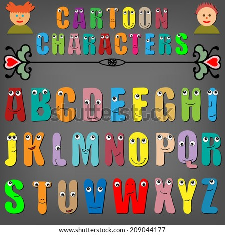 Cartoon characters, funny capital letters alphabet for children education, isolated elements on black background - stock vector