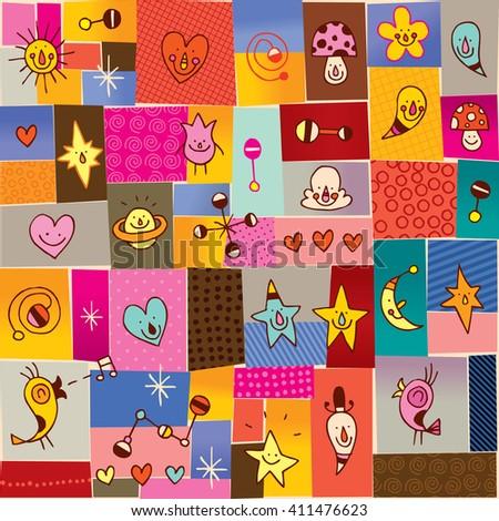 cartoon characters seamless pattern - stock vector