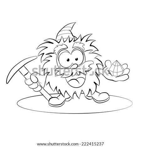 Cartoon cheerful leprechaun with a pick and a jewel in the hands. Coloring book. - stock vector