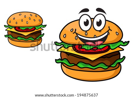 Cartoon cheeseburger with a laughing face with a beef patty, cheese, lettuce and tomato on a sesame bun, and a second version with no face, isolated on white - stock vector