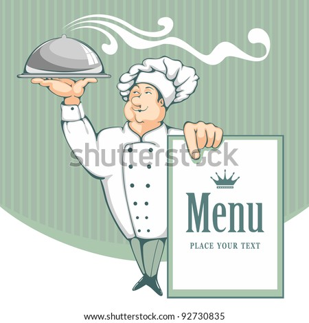 Cartoon chef carrying dinner plate with perfect meal. Menu background. - stock vector