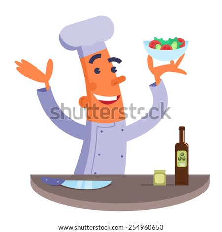 Cartoon chef holding plate with salad - stock vector
