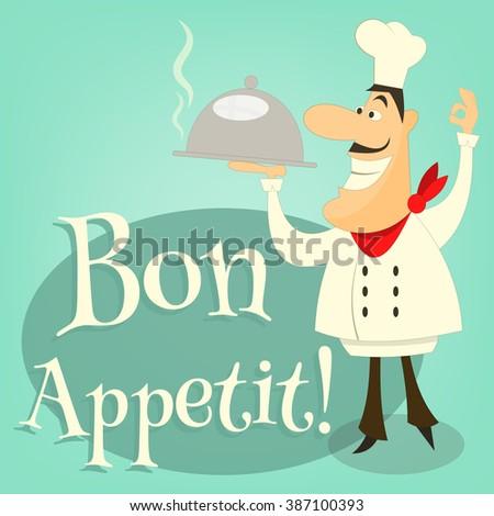 Cartoon Chef  Holds Dish. Vector Illustration. - stock vector