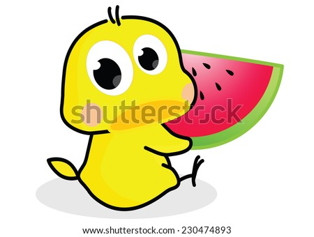 cartoon chick with watermelon - stock vector