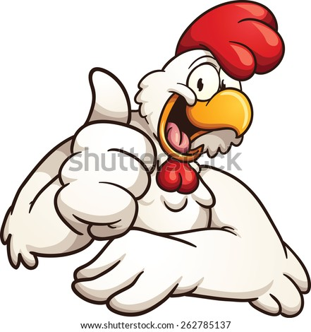 Cartoon chicken giving the thumbs up. Vector clip art illustration with simple gradients. All in a single layer. - stock vector