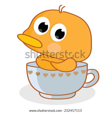 cartoon chicks pose in the cup - stock vector