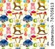 cartoon child toy seamless pattern - stock vector