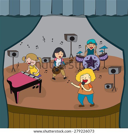 Cartoon children band is playing concert on stage in school fair, create by vector - stock vector