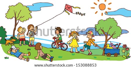 Cartoon Children having a good time playing in sunny summer landscape field, create by vector - stock vector