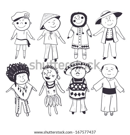 Cartoon children  in different traditional costumes, black-white sketch set - stock vector