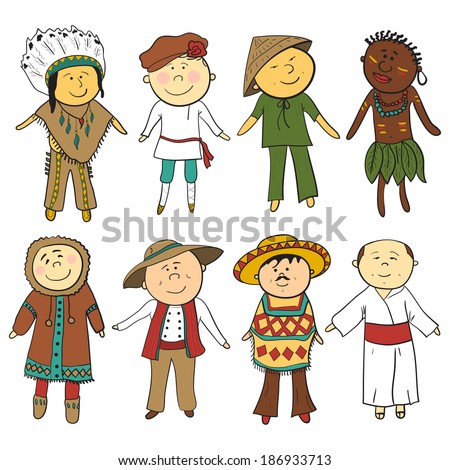 Cartoon children in different traditional costumes, vector set - stock vector