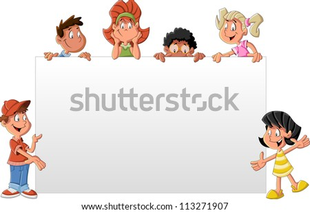 Cartoon children in front of white board. Presentation screen / paper card. - stock vector