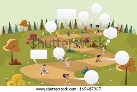 Cartoon children talking with speech balloon over path on the green park   - stock vector