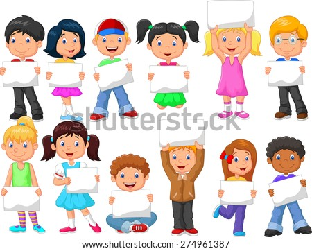 Cartoon children with blank sign - stock vector