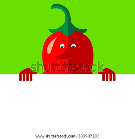 Cartoon chili pepper holding a blank sheet. Flat style vector illustration . Funny cartoon character - stock vector