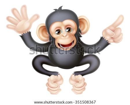 Cartoon chimp monkey like character mascot waving and pointing - stock vector