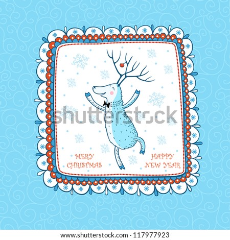 Cartoon Christmas background  with the Dancing Deer. Greeting card Merry Christmas. - stock vector