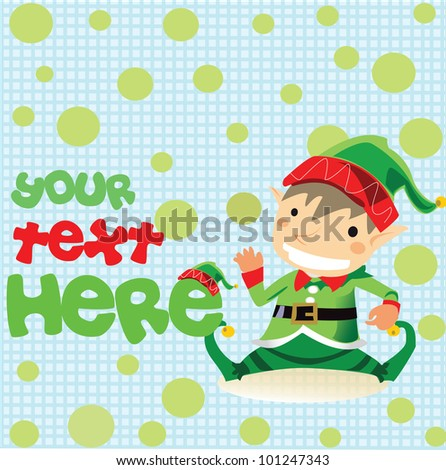 Cartoon Christmas elf,for your text here ,Vector - stock vector