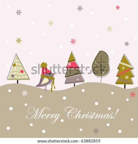 Cartoon Christmas grey background, doodle trees - stock vector