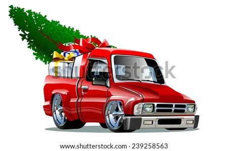 Cartoon Christmas Pickup - stock vector