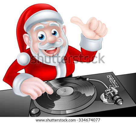 Cartoon Christmas Santa Claus DJ at the record decks - stock vector