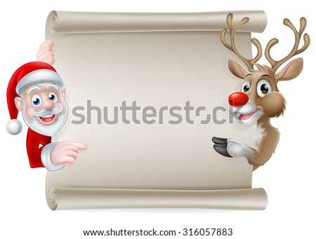 Cartoon Christmas scroll sign of Santa Claus and his reindeer pointing at a scroll banner - stock vector