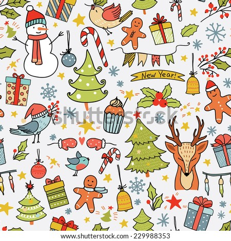 Cartoon christmas seamless pattern with birds, trees, deer, gift boxes and other elements. Seamless pattern can be used for wallpapers, web page backgrounds. - stock vector