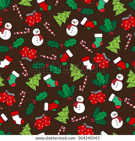 Cartoon christmas seamless pattern with stockings, mittens, candy cane, holly berries, snowman and with xmas tree. Hand drawn doodles on brown background. Vector illustration eps8 - stock vector
