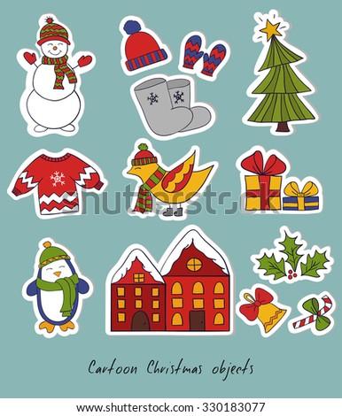 Cartoon christmas set. Vector illustration with snowman, christmas tree and birds. - stock vector