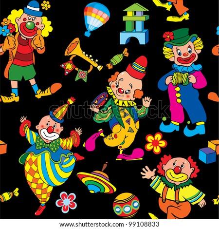 Cartoon circus seamless pattern. Vector art-illustration on a black background. - stock vector