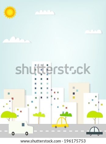 cartoon city road with cars. flat paper illustration - stock vector