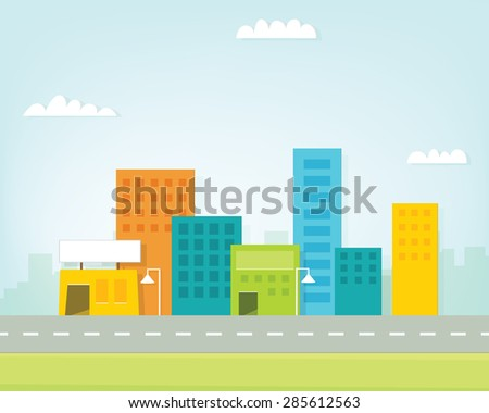 cartoon city skyline - stock vector