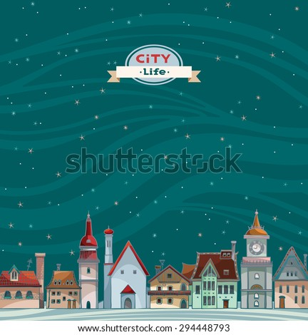 Cartoon city view with red roof on a night starry sky background. Urban vector landscape. - stock vector