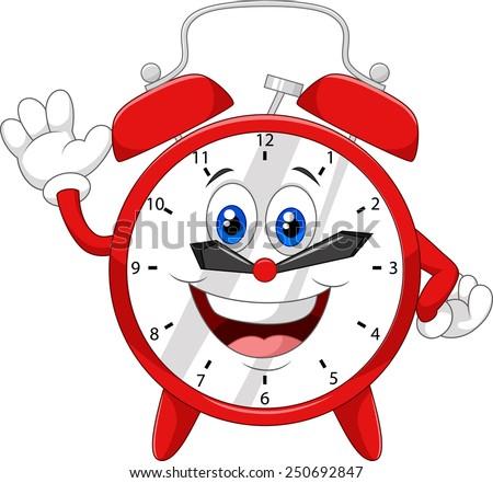 Cartoon clock waving hand - stock vector
