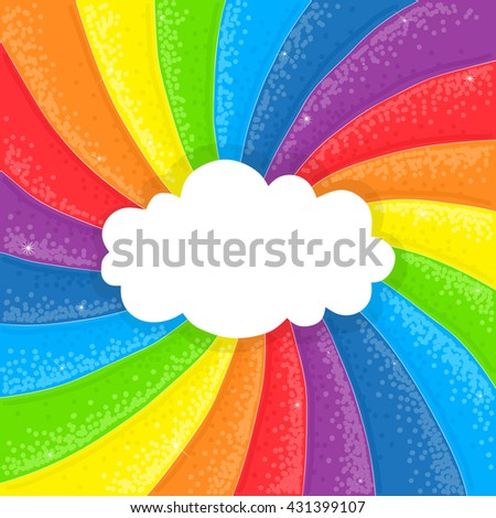 Cartoon cloud on sparkling shiny hand drawn rainbow background - stock vector