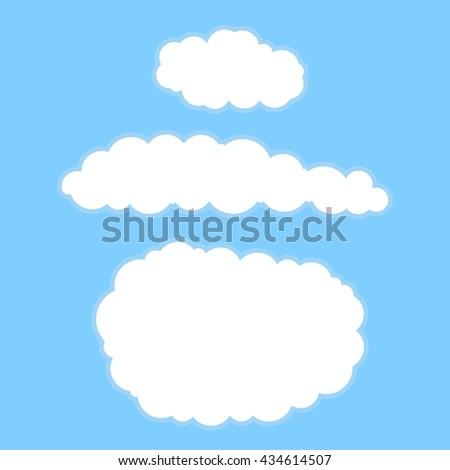 Cartoon clouds. Vector illustration on blue sky for design. - stock vector