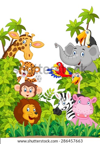 Cartoon collection happy animal in the jungle - stock vector