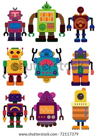 cartoon color robot  icon - stock vector