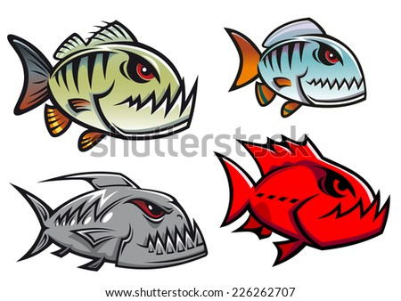 Cartoon colorful piranha fish characters with sharp jagged teeth in different designs, vector illustration - stock vector