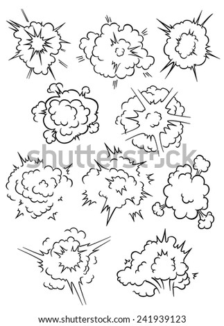 Cartoon comics explosion, bubbles and blast clouds elements - stock vector