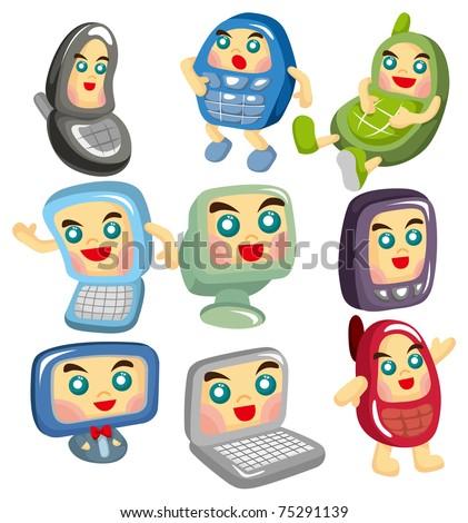 cartoon computer and phone face icon - stock vector