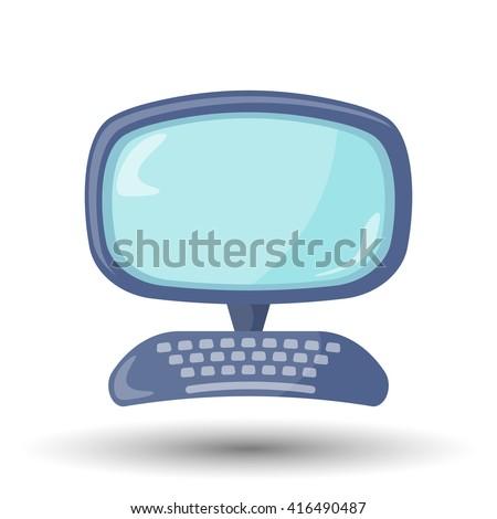Cartoon computer colorful icon - stock vector