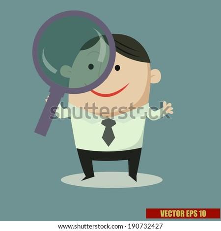 cartoon concept : Businessman looking through magnifying glass vector - stock vector