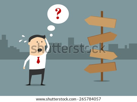 Cartoon confused businessman with question mark in speech bubble above him standing on crossroad with blank signpost choosing way to success for alternative choice concept design - stock vector