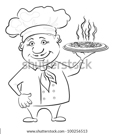 Cartoon cook - chef holds a delicious hot pizza, black contour on white background. Vector - stock vector