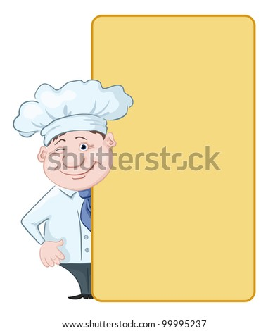 Cartoon cook - chef winking looks out poster, free for your text. Vector - stock vector